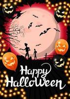 feliz dia das bruxas, modelo vertical para a sua criatividade com grande lua cheia e zumbi no fundo. modelo decorado com balões e guirlandas de halloween vetor