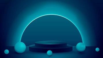 pódio vazio com esferas realistas e anel de néon no fundo. Cena 3D abstrato escuro e azul vetor