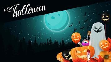 fundo de halloween, modelo para sua criatividade com paisagem noturna azul com lua cheia sobre floresta escura. modelo para sua arte vetor