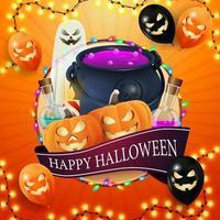 feliz dia das bruxas, laranja quadrada, modelo para sua criatividade com grande círculo, guirlanda, fita com saudação, balões de halloween, fantasma, caldeirão de bruxa e jack de abóbora vetor