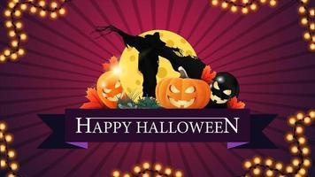 feliz dia das bruxas, cartão postal de saudação criativa em forma de fita com balões de halloween, espantalho e macaco de abóbora contra a lua vetor