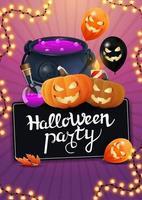 festa de halloween, pôster de convite vertical com caldeirão de bruxa, balões de halloween, guirlanda e jack abóbora vetor
