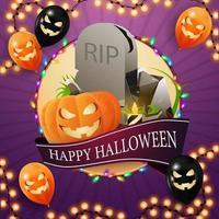 feliz dia das bruxas, modelo quadrado para sua criatividade com grande círculo, guirlanda, fita com saudação, balões de halloween, lápide e jack de abóbora vetor