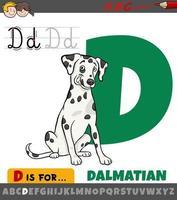 letra d do alfabeto com desenho de cachorro dálmata vetor