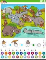 contando e adicionando jogos com animais selvagens de desenho animado vetor