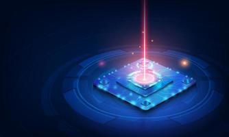 placa de circuito do fundo do processador do chip da tecnologia abstrata e código html, vetor do fundo da tecnologia azul da ilustração 3d.