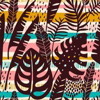 Abstrata sem costura padrão com folhas tropicais. Modelo de vetor