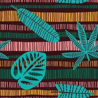 Abstrata sem costura padrão com folhas tropicais. vetor