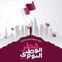 celebração do dia nacional do Catar com ilustração vetorial de marco e bandeira vetor