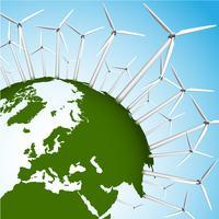 Terra verde e turbinas eólicas conceito eps10 ilustração em vetor
