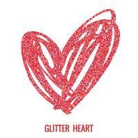 Coração de glitter mão desenhada. vetor