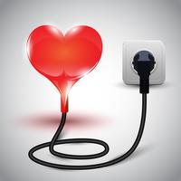 ilustração em vetor de coração com cabo de alimentação