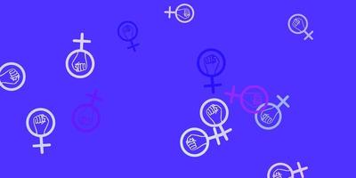 pano de fundo vector roxo claro com símbolos de poder da mulher.