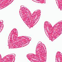 Padrão sem emenda de vetor com mão desenhada corações de glitter.