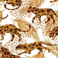 Sem costura padrão exótico com folhas de palmeira e silhuetas de animais