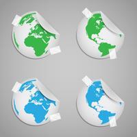 Mundos de etiqueta com sinais de eco vetor