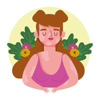 mulher perfeitamente imperfeita com personagem de desenho animado de vitiligo e flores vetor