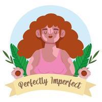 mulher perfeitamente imperfeita com retrato de desenho animado com vitiligo, decoração de flores vetor