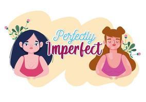 perfeitamente imperfeito mulheres plus size e mulher com vitiligo vetor