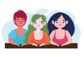 garotas perfeitamente imperfeitas e diversificadas com vitiligo plus size cartoon vetor