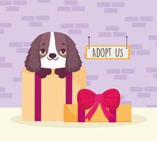 cachorro em adoção de caixa de presente vetor