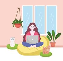mulher usando laptop trabalhando, escritório em casa com gatos e plantas escritório em casa vetor
