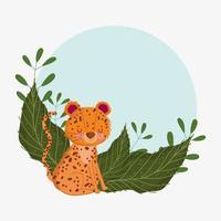 leopardo fofo com folhas vetor