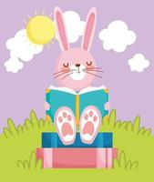 escola de livros de leitura de coelhinha fofa vetor