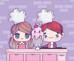 anime kids com milkshake vetor