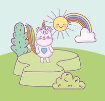cauda de arco-íris de gato de desenho animado vetor