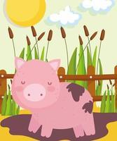 fazenda fofo porco vetor