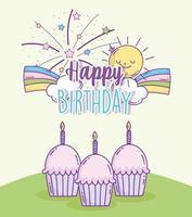 feliz aniversário cupcakes vetor