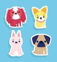 conjunto de cães pequenos vetor