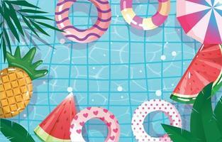 vista superior da piscina para o verão vetor