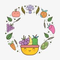 frutas vegetais fofas vetor