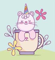 gato na xícara com flores vetor