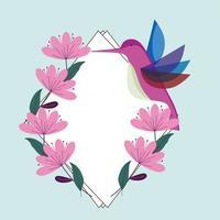 fauna de flores de colibri vetor