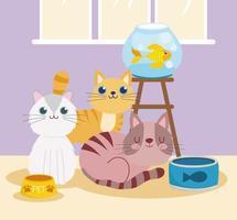 pet shop com gatos, peixe, comida enlatada e tigela vetor