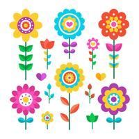 Vector conjunto de flor retrô