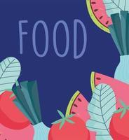 padrão alimentar, vegetais, tomate fresco, melancia e design de alface vetor