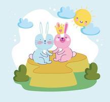 desenho de coelhos fofos vetor
