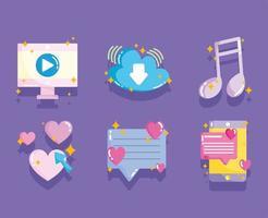 mídia social, música de mensagem de vídeo de computador em estilo desenho animado vetor