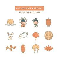 ícones do festival do meio do outono vetor