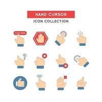 coleção de ícones de cursor de mão vetor
