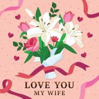 buquê de flores para esposa vetor