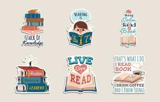 coleção de adesivos feliz dia da alfabetização vetor