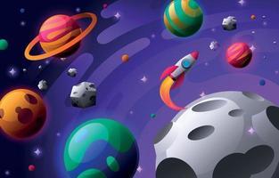 espaço sideral colorido com planetas e nave espacial vetor