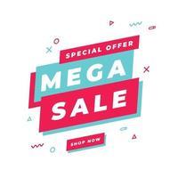 modelo de banner de mega venda, oferta especial de grande venda. banner de oferta especial de fim de temporada. vetor