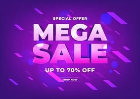 design de modelo de banner de mega venda, banner de compra on-line de oferta especial de grande venda. vetor