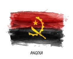 bandeira pintura aquarela realista de angola. vetor. vetor